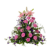 High funeral arrangement, Rosa-Lila