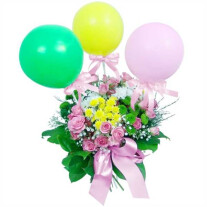 Flowers with balloons for a child