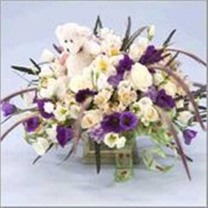 Baby boy / girl arrangement with teddy bear